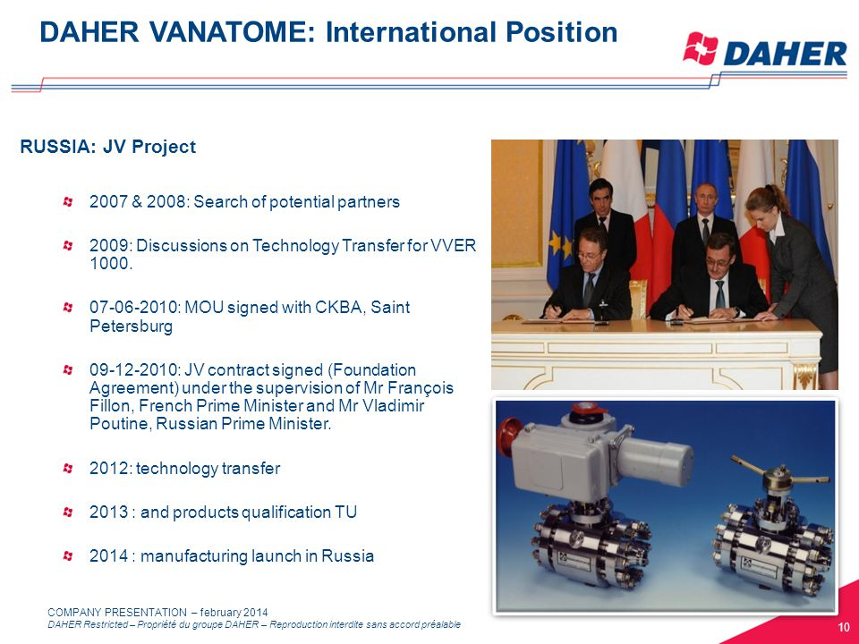 DAHER Restricted – Propriété du groupe DAHER – Reproduction interdite sans accord préalable COMPANY PRESENTATION – february 2014 RUSSIA: JV Project 2007 & 2008: Search of potential partners 2009: Discussions on Technology Transfer for VVER 1000.