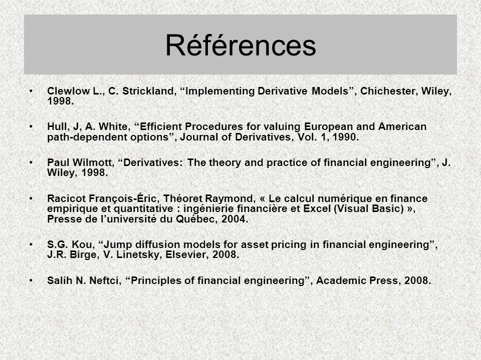 Références Clewlow L., C. Strickland, Implementing Derivative Models , Chichester, Wiley, 1998.