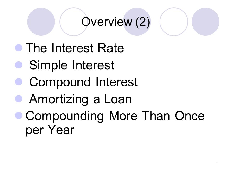 Overview (2) The Interest Rate Simple Interest Compound Interest Amortizing a Loan Compounding More Than Once per Year 3