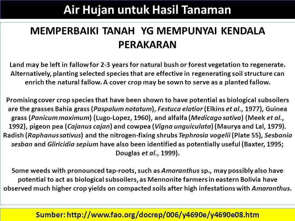 Sumber: http://www.fao.org/docrep/006/y4690e/y4690e08.htm MEMPERBAIKI TANAH YG MEMPUNYAI KENDALA PERAKARAN Land may be left in fallow for 2-3 years for natural bush or forest vegetation to regenerate.