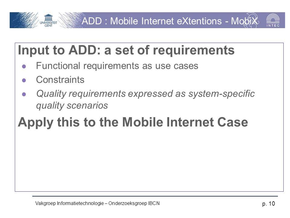 Vakgroep Informatietechnologie – Onderzoeksgroep IBCN p. 10 ADD : Mobile Internet eXtentions - MobiX Input to ADD: a set of requirements Functional re