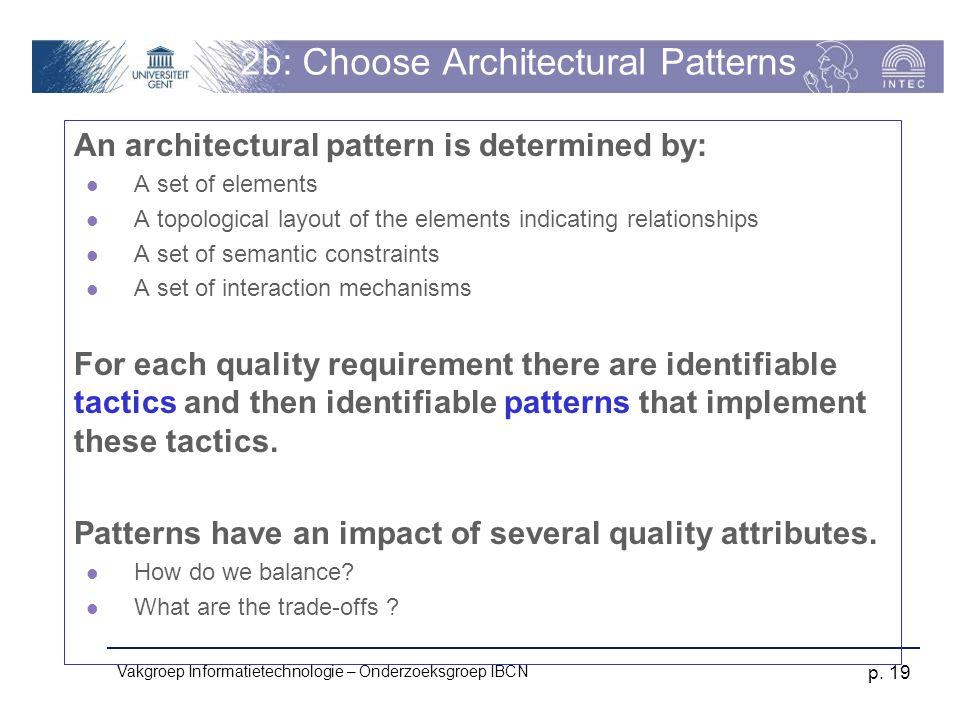 Vakgroep Informatietechnologie – Onderzoeksgroep IBCN p. 19 2b: Choose Architectural Patterns An architectural pattern is determined by: A set of elem