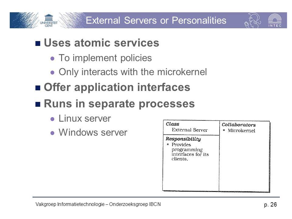 Vakgroep Informatietechnologie – Onderzoeksgroep IBCN p. 26 External Servers or Personalities Uses atomic services To implement policies Only interact