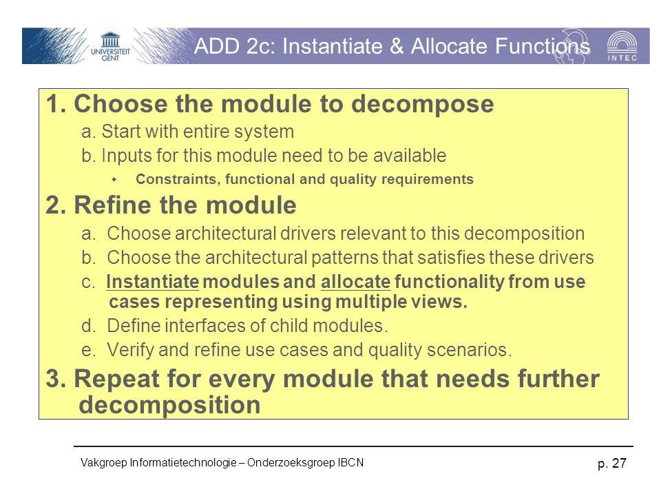 Vakgroep Informatietechnologie – Onderzoeksgroep IBCN p. 27 ADD 2c: Instantiate & Allocate Functions 1. Choose the module to decompose a. Start with e