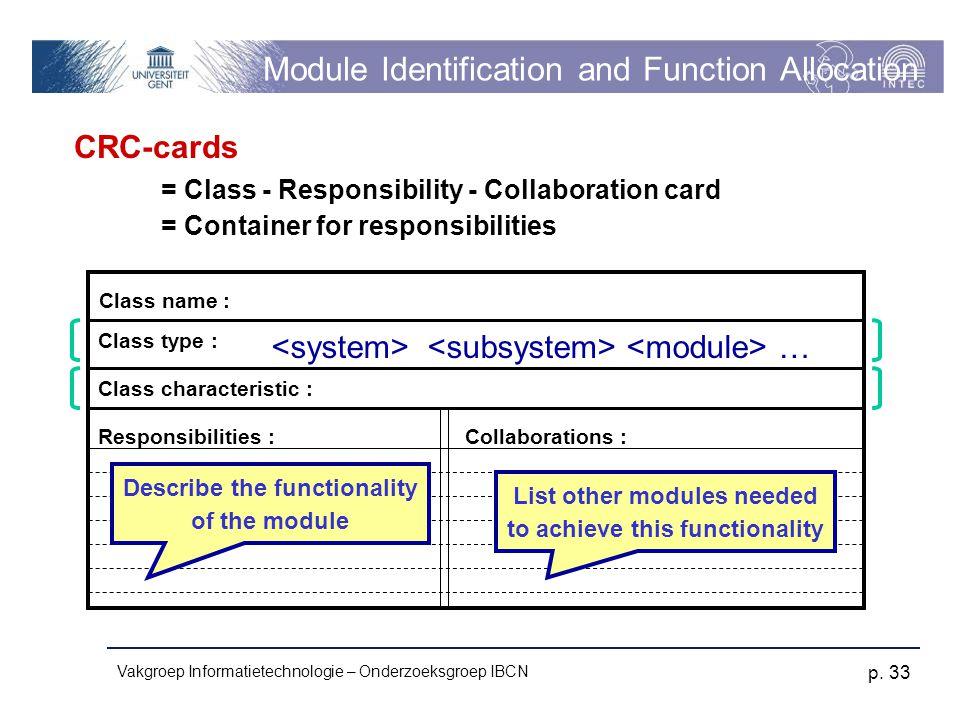 Vakgroep Informatietechnologie – Onderzoeksgroep IBCN p. 33 Module Identification and Function Allocation CRC-cards = Class - Responsibility - Collabo