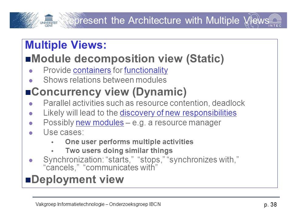 Vakgroep Informatietechnologie – Onderzoeksgroep IBCN p. 38 Represent the Architecture with Multiple Views Multiple Views: Module decomposition view (