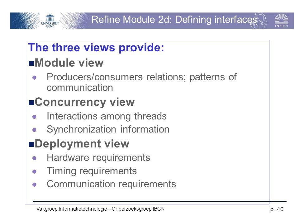 Vakgroep Informatietechnologie – Onderzoeksgroep IBCN p. 40 Refine Module 2d: Defining interfaces The three views provide: Module view Producers/consu