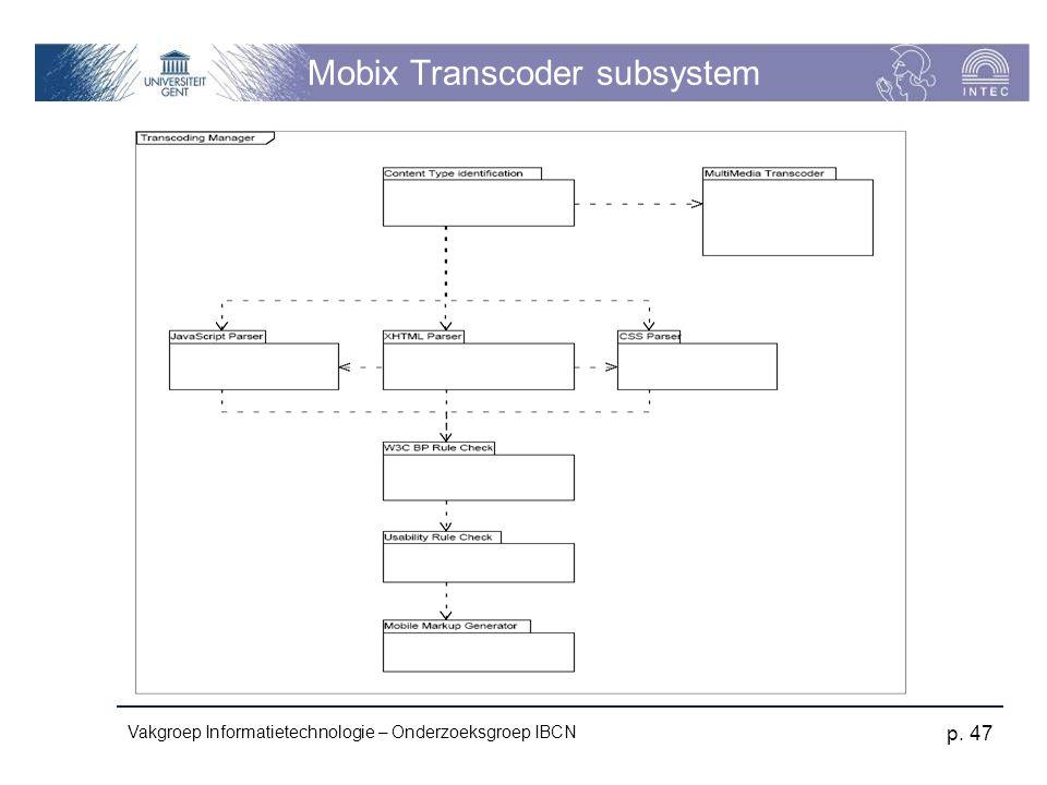 Vakgroep Informatietechnologie – Onderzoeksgroep IBCN p. 47 Mobix Transcoder subsystem