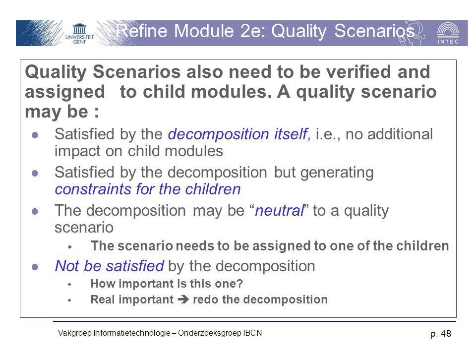 Vakgroep Informatietechnologie – Onderzoeksgroep IBCN p. 48 Refine Module 2e: Quality Scenarios Quality Scenarios also need to be verified and assigne