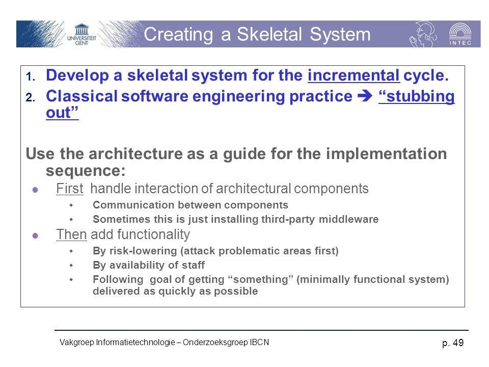 Vakgroep Informatietechnologie – Onderzoeksgroep IBCN p. 49 Creating a Skeletal System 1. Develop a skeletal system for the incremental cycle. 2. Clas