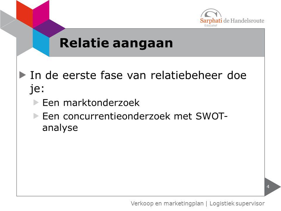 In de eerste fase van relatiebeheer doe je: Een marktonderzoek Een concurrentieonderzoek met SWOT- analyse 4 Relatie aangaan Verkoop en marketingplan | Logistiek supervisor