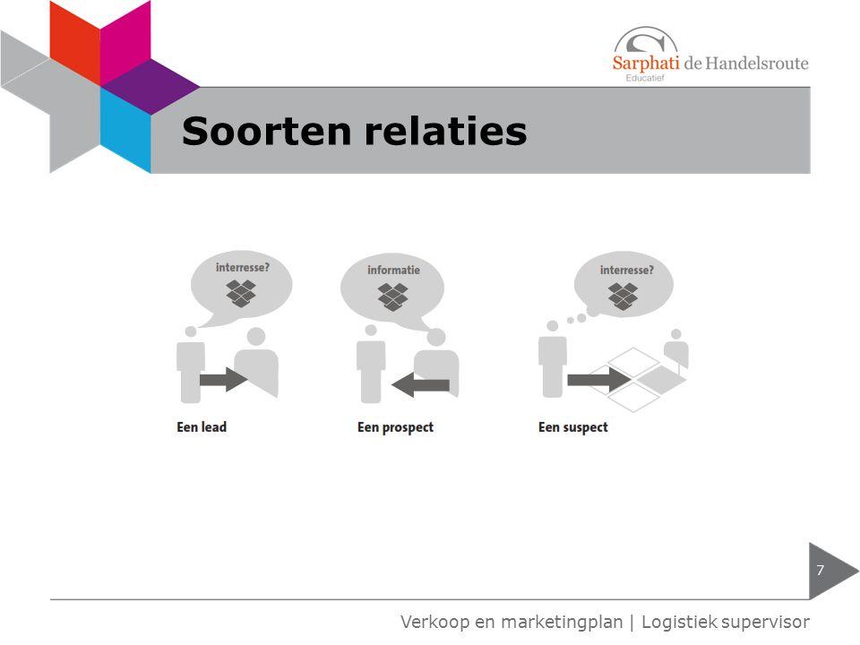 Soorten relaties 7 Verkoop en marketingplan | Logistiek supervisor