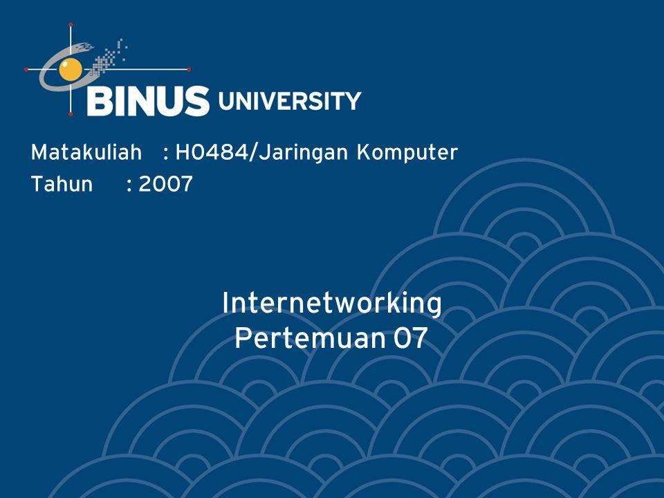 Internetworking Pertemuan 07 Matakuliah: H0484/Jaringan Komputer Tahun: 2007