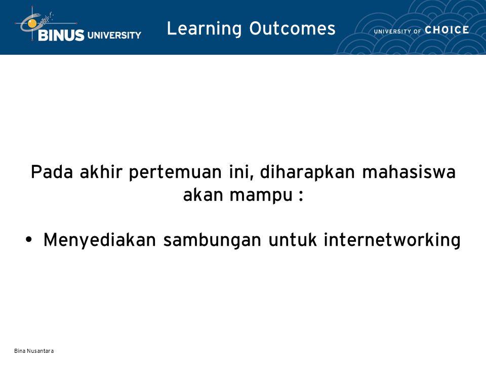 Bina Nusantara Learning Outcomes Pada akhir pertemuan ini, diharapkan mahasiswa akan mampu : Menyediakan sambungan untuk internetworking