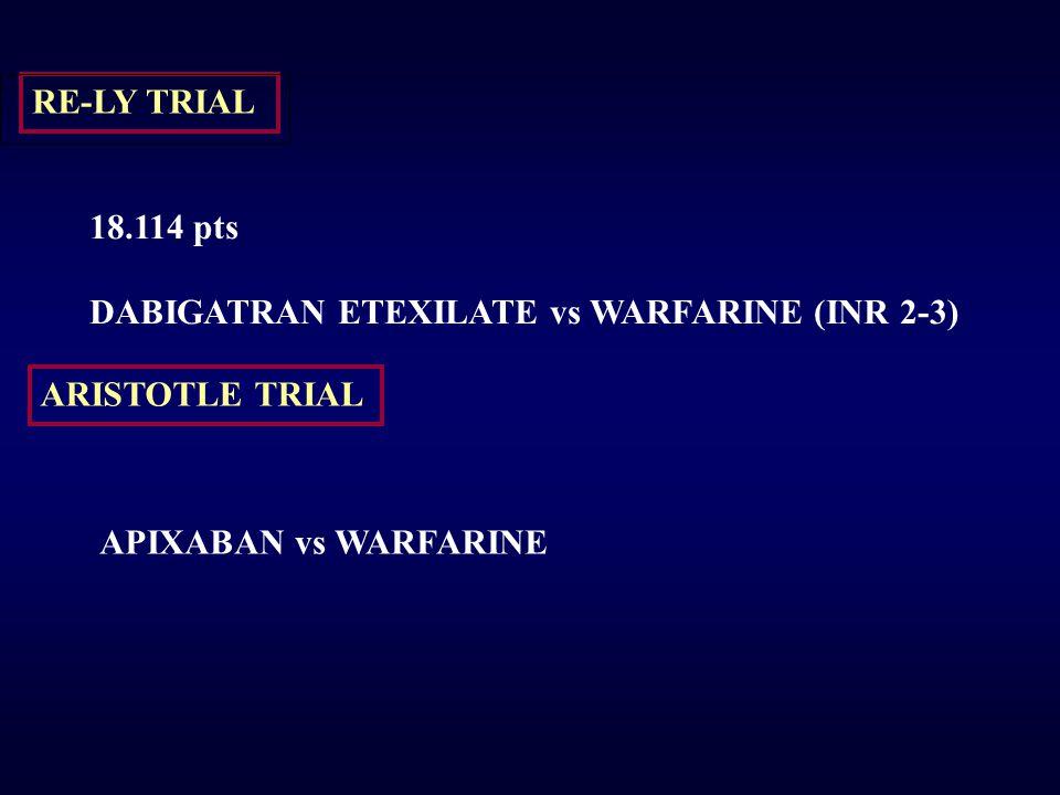 RE-LY TRIAL 18.114 pts DABIGATRAN ETEXILATE vs WARFARINE (INR 2-3) ARISTOTLE TRIAL APIXABAN vs WARFARINE