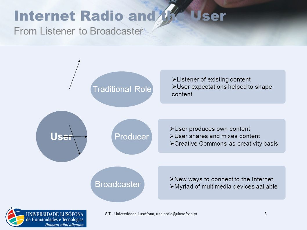 SITI, Universidade Lusófona, rute.sofia@ulusofona.pt5 Internet Radio and the User From Listener to Broadcaster User Producer Broadcaster Traditional Role  Listener of existing content  User expectations helped to shape content  User produces own content  User shares and mixes content  Creative Commons as creativity basis  New ways to connect to the Internet  Myriad of multimedia devices aailable