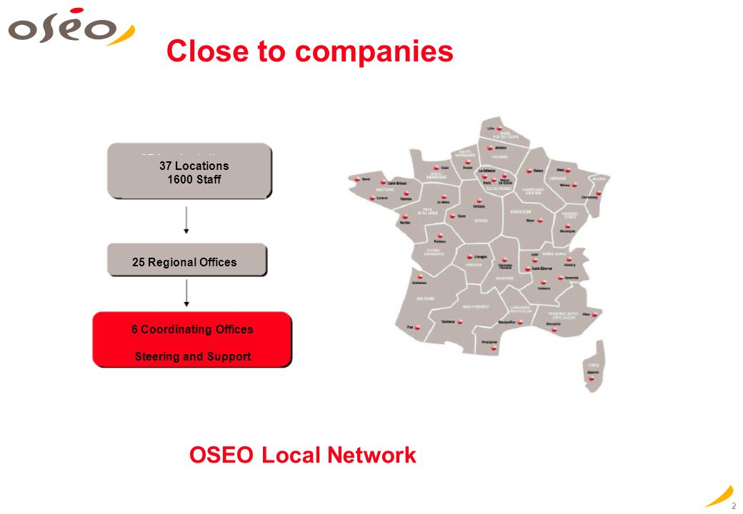 2 Close to companies OSEO Local Network 37 Locations 1600 Staff 25 Regional Offices 6 Coordinating Offices Steering and Support