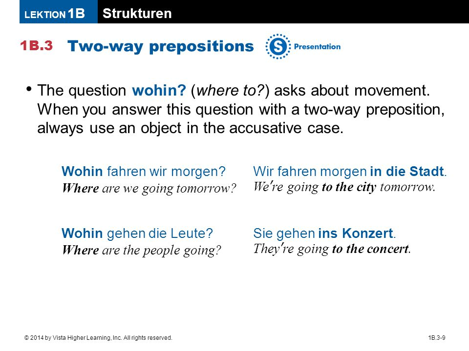 Strukturen 1B.3 LEKTION 1B 1B.3-9© 2014 by Vista Higher Learning, Inc. All rights reserved. Two-way prepositions The question wohin? (where to?) asks