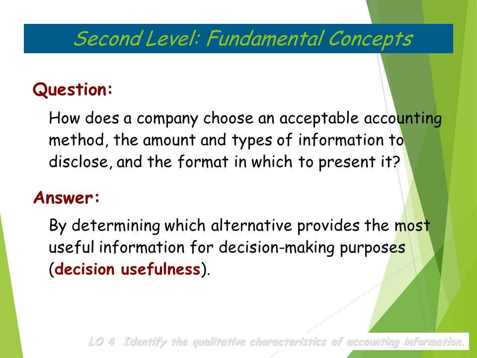 Question: How does a company choose an acceptable accounting method, the amount and types of information to disclose, and the format in which to prese