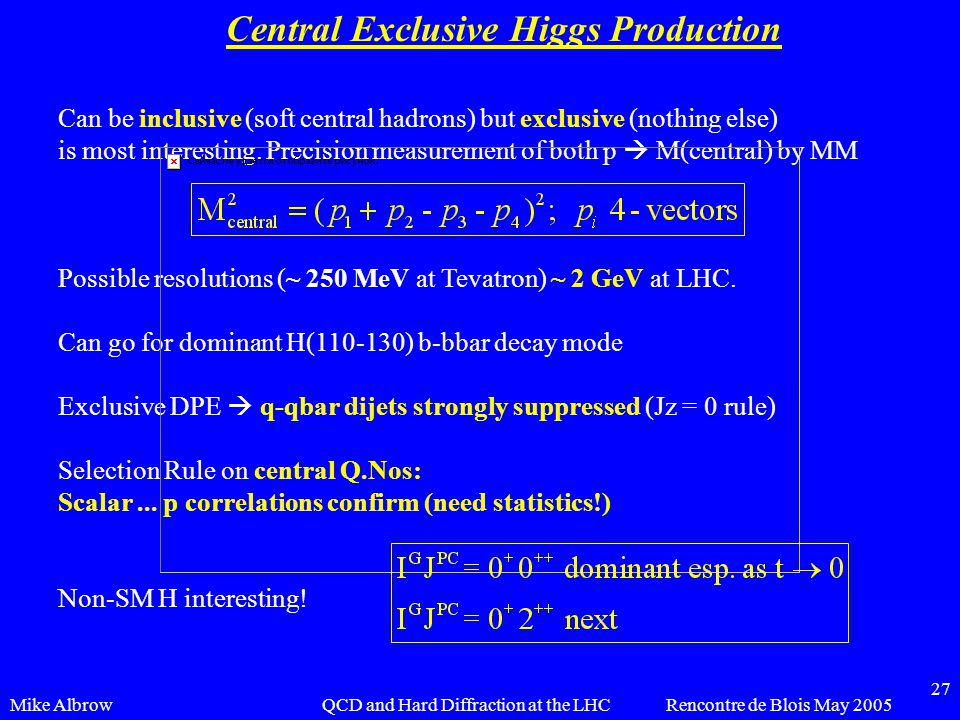 Mike AlbrowRencontre de Blois May 2005QCD and Hard Diffraction at the LHC 27 Central Exclusive Higgs Production Can be inclusive (soft central hadrons