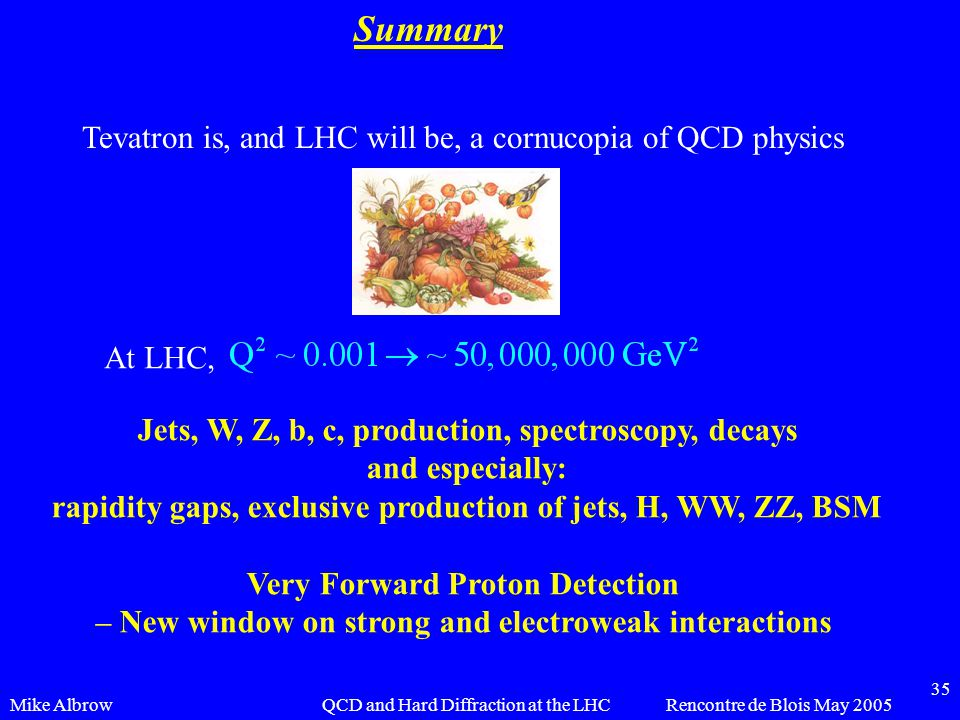 Mike AlbrowRencontre de Blois May 2005QCD and Hard Diffraction at the LHC 35 Summary Tevatron is, and LHC will be, a cornucopia of QCD physics At LHC, Jets, W, Z, b, c, production, spectroscopy, decays and especially: rapidity gaps, exclusive production of jets, H, WW, ZZ, BSM Very Forward Proton Detection – New window on strong and electroweak interactions