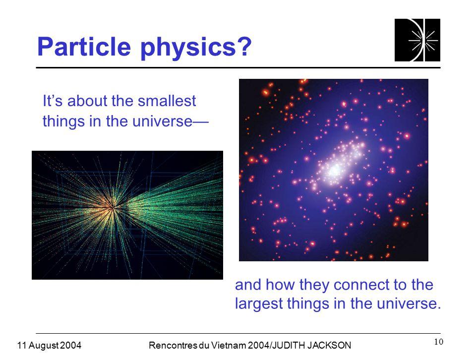 11 August 2004Rencontres du Vietnam 2004/JUDITH JACKSON 10 Particle physics.