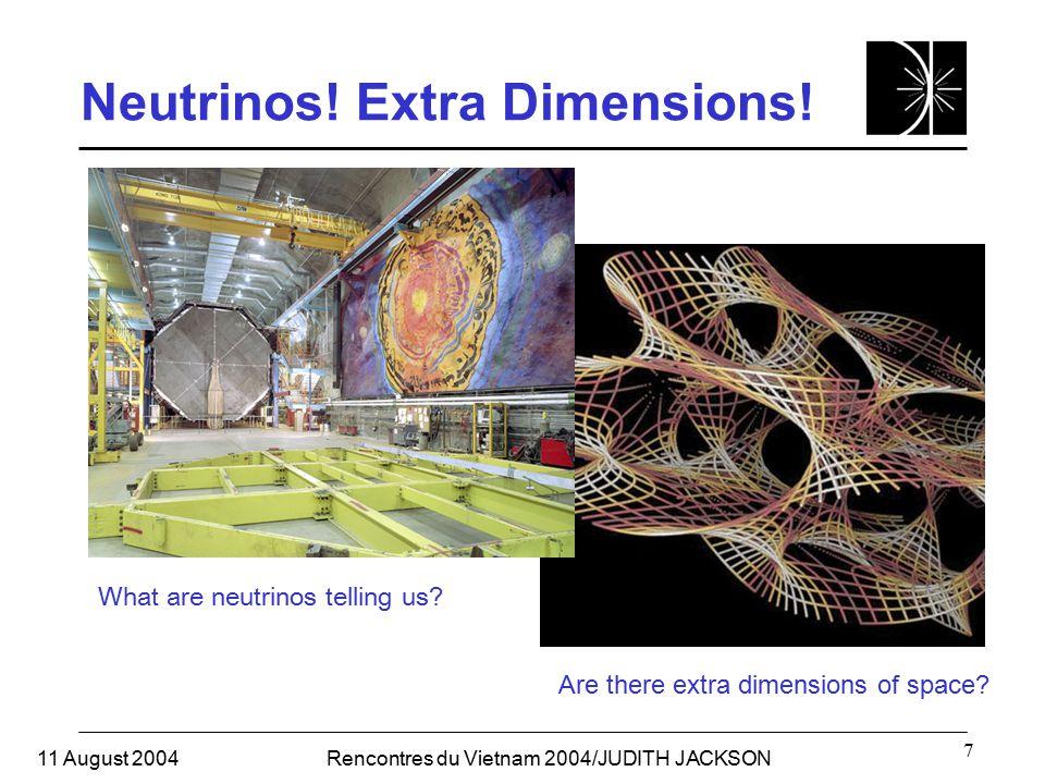 11 August 2004Rencontres du Vietnam 2004/JUDITH JACKSON 7 Neutrinos.
