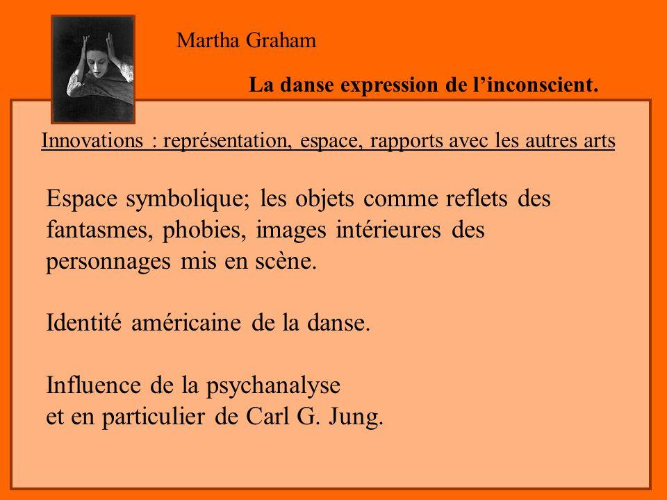 Espace symbolique; les objets comme reflets des fantasmes, phobies, images intérieures des personnages mis en scène. Identité américaine de la danse.