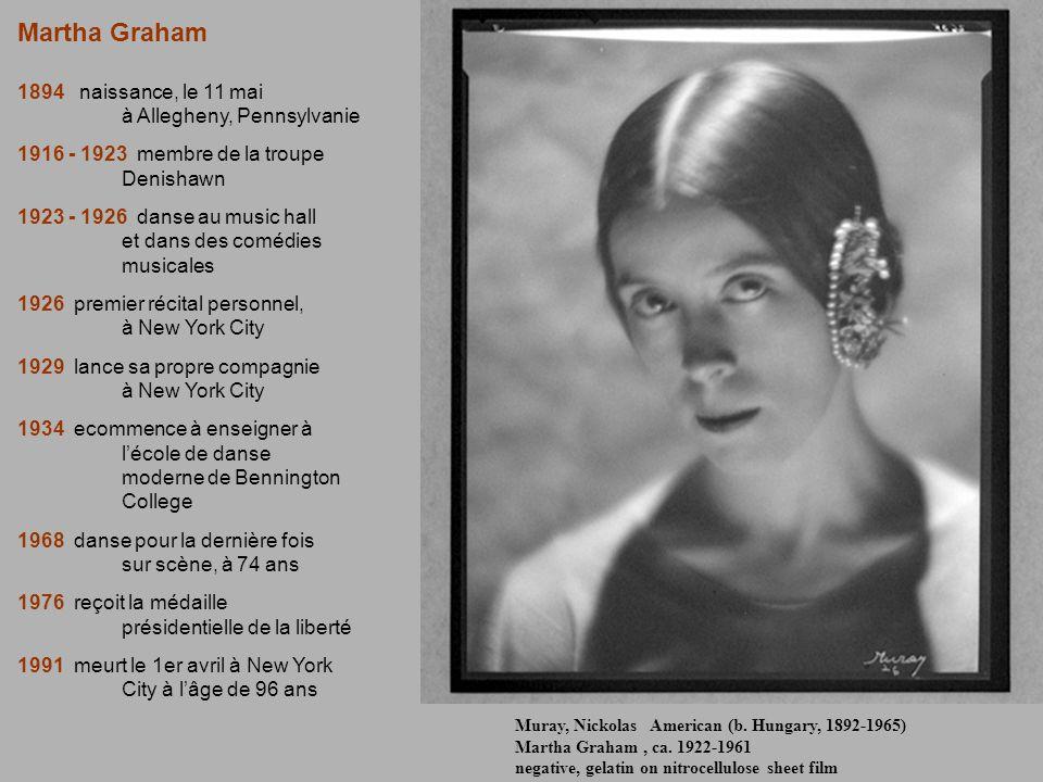 Martha Graham 1894 naissance, le 11 mai à Allegheny, Pennsylvanie 1916 - 1923 membre de la troupe Denishawn 1923 - 1926 danse au music hall et dans de