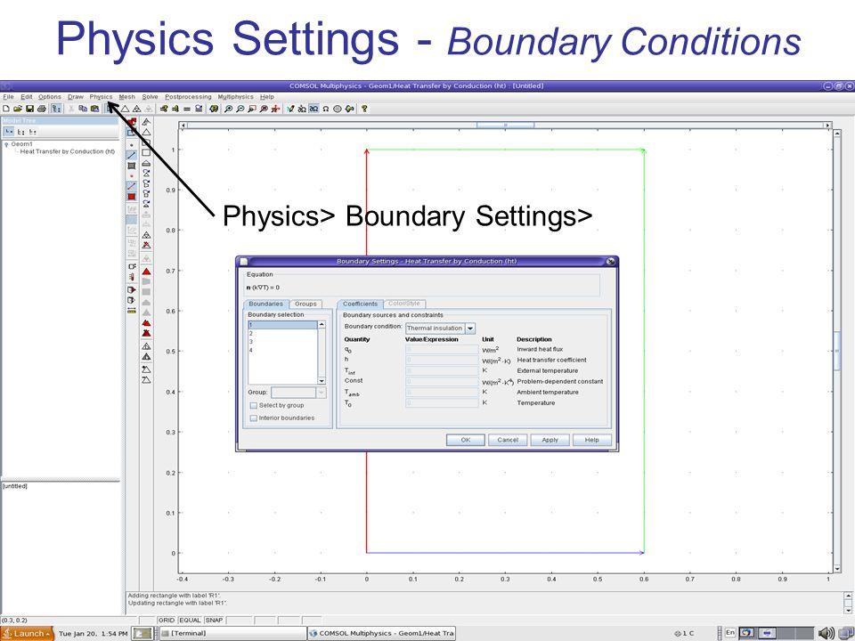 Physics Settings – Sub-domain settings Physics> Subdomain Settings>