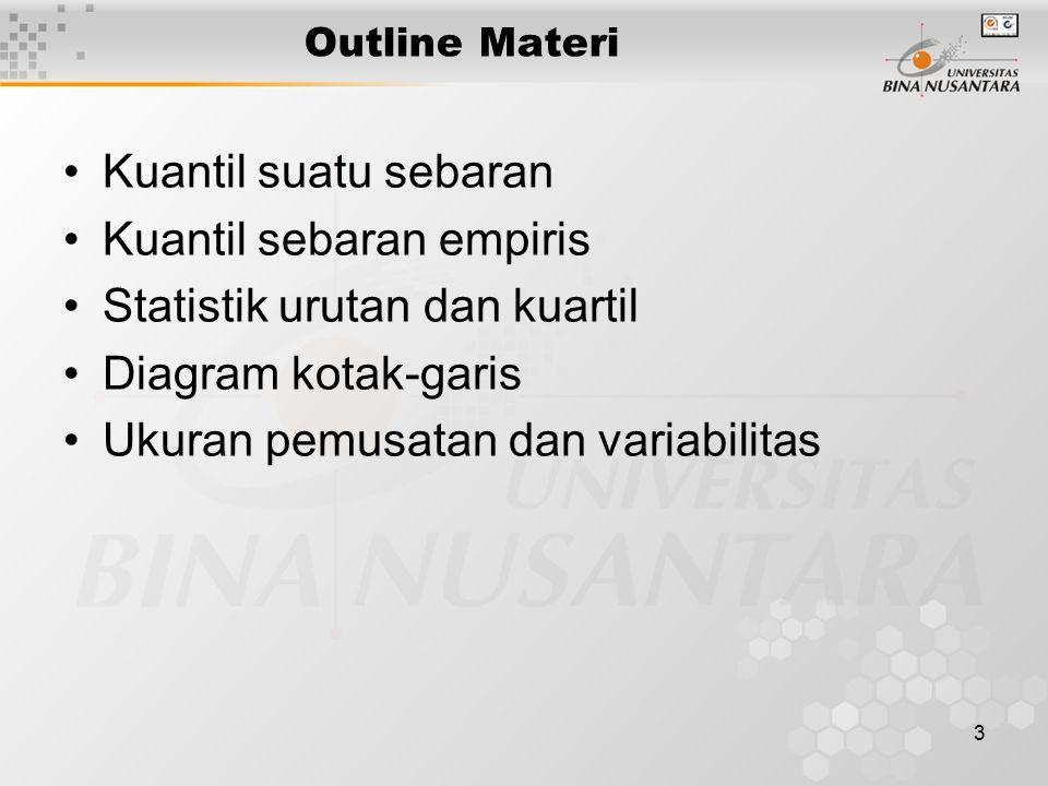 3 Outline Materi Kuantil suatu sebaran Kuantil sebaran empiris Statistik urutan dan kuartil Diagram kotak-garis Ukuran pemusatan dan variabilitas