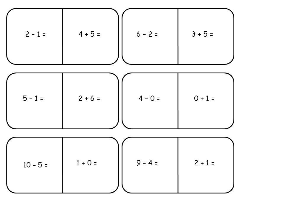5 – 1 =4 – 0 = 10 – 5 = 9 – 4 = 6 – 2 =2 – 1 = 0 + 1 = 1 + 0 =2 + 1 = 2 + 6 = 3 + 5 =4 + 5 =