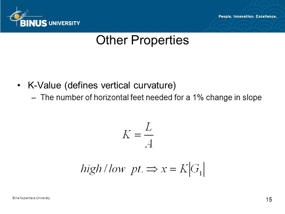 Bina Nusantara University 15 Other Properties K-Value (defines vertical curvature) –The number of horizontal feet needed for a 1% change in slope