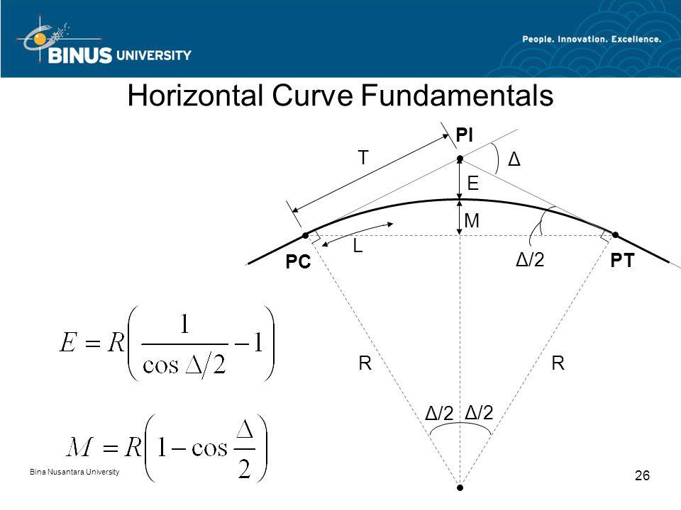 Bina Nusantara University 26 Horizontal Curve Fundamentals R T PC PT PI M E R Δ Δ/2 L