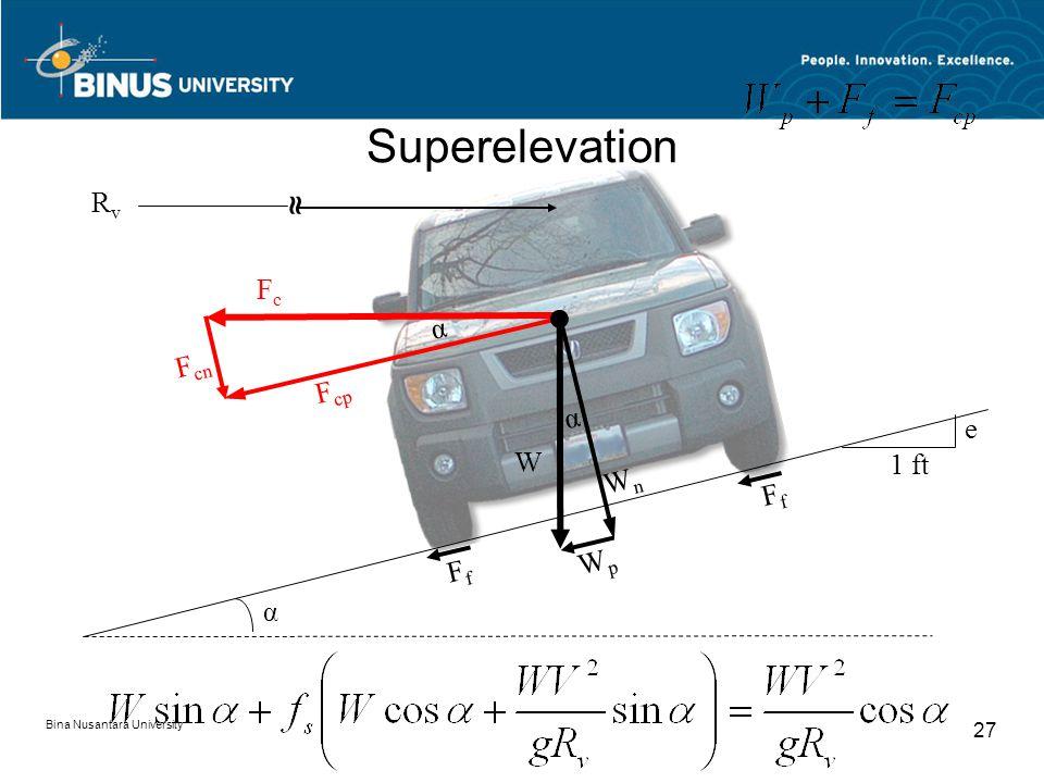 Bina Nusantara University 27 Superelevation α α F cp F cn WpWp WnWn FfFf FfFf α FcFc W 1 ft e ≈ RvRv