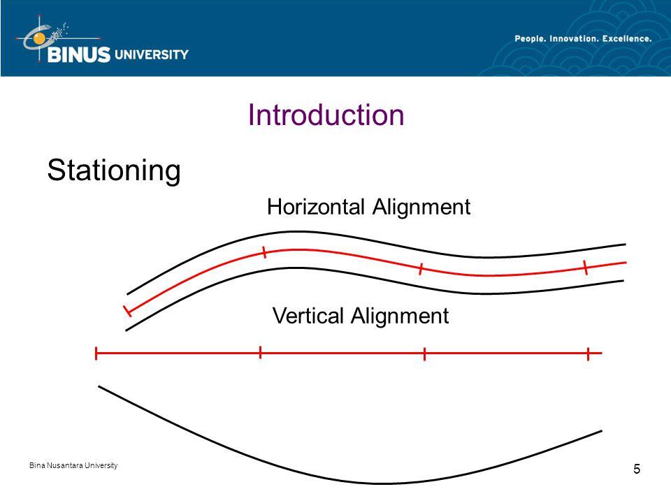 Bina Nusantara University 5 Stationing Horizontal Alignment Vertical Alignment Introduction