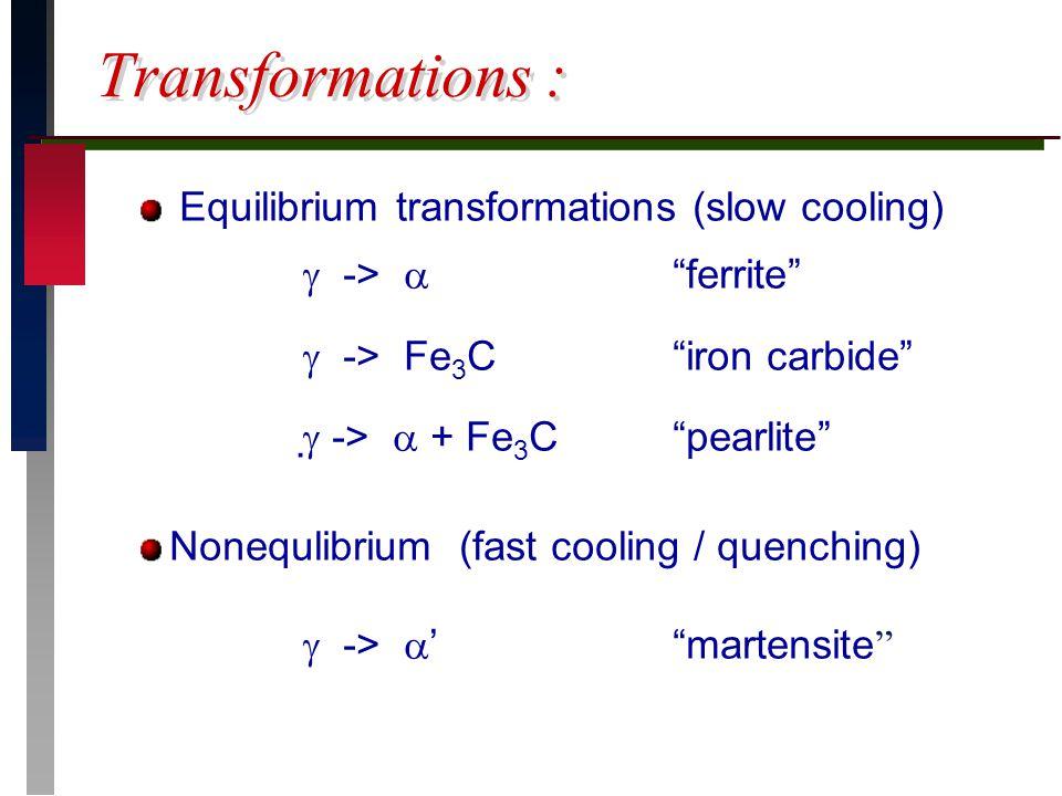 """Transformations : Equilibrium transformations (slow cooling)  ->  """"ferrite""""  -> Fe 3 C""""iron carbide""""   ->  + Fe 3 C """"pearlite"""" Nonequlibrium (fa"""