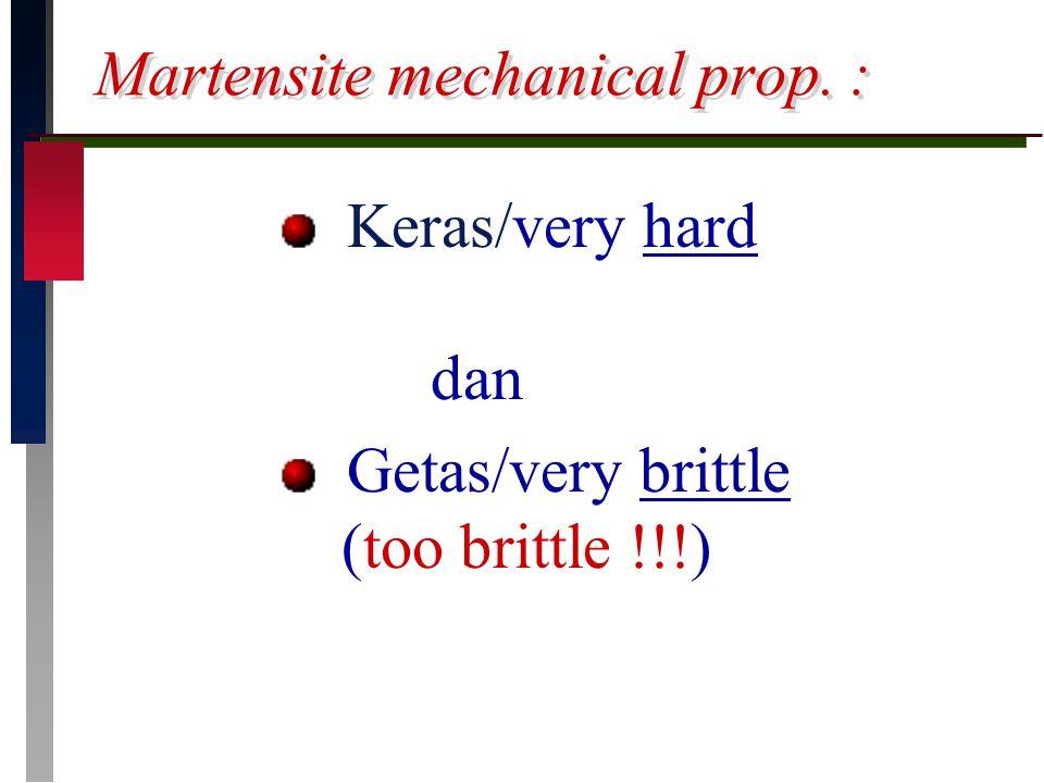 Martensite mechanical prop. : Keras/very hard dan Getas/very brittle (too brittle !!!)