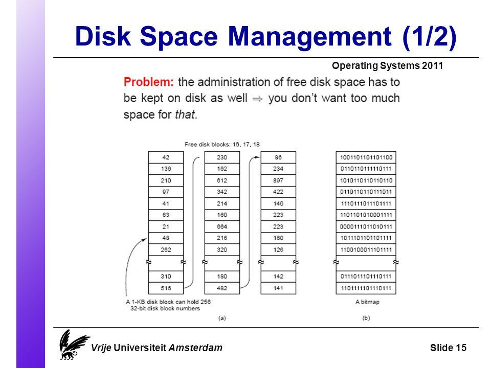 Disk Space Management (1/2) Vrije Universiteit AmsterdamSlide 15 Operating Systems 2011