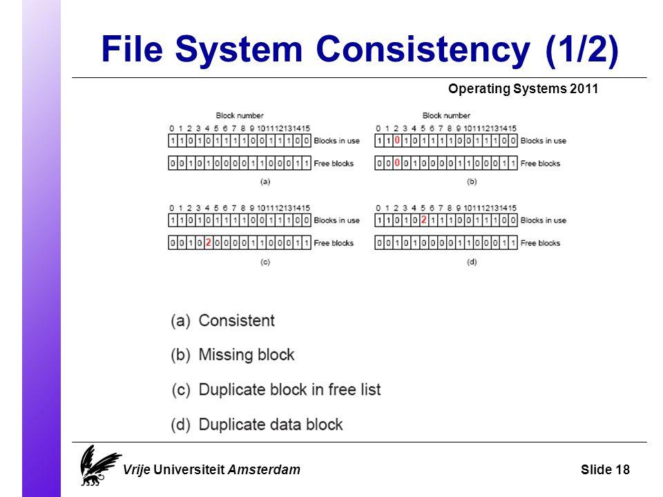 File System Consistency (1/2) Vrije Universiteit AmsterdamSlide 18 Operating Systems 2011