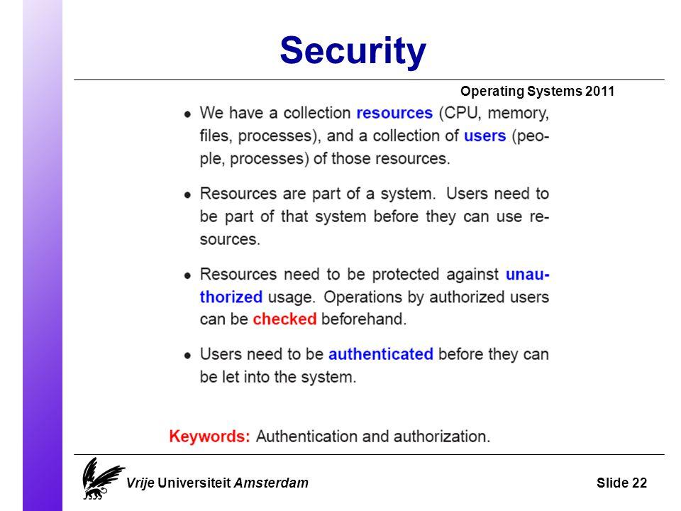Security Vrije Universiteit AmsterdamSlide 22 Operating Systems 2011