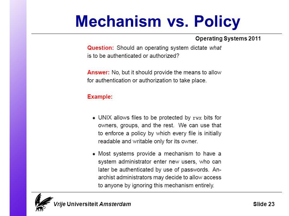 Mechanism vs. Policy Vrije Universiteit AmsterdamSlide 23 Operating Systems 2011