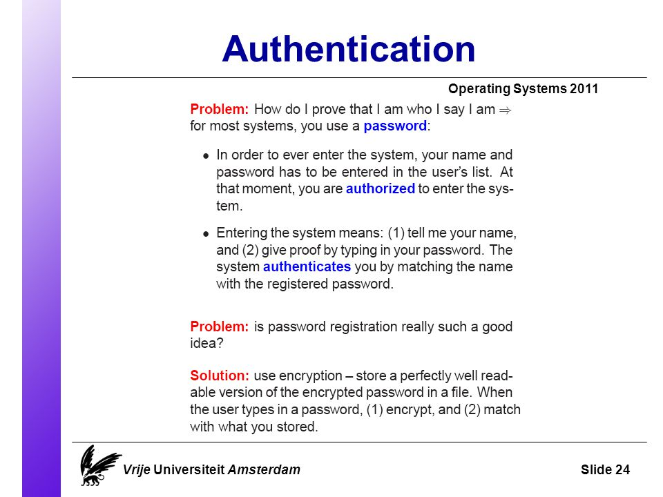 Authentication Vrije Universiteit AmsterdamSlide 24 Operating Systems 2011