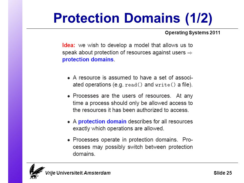 Protection Domains (1/2) Vrije Universiteit AmsterdamSlide 25 Operating Systems 2011