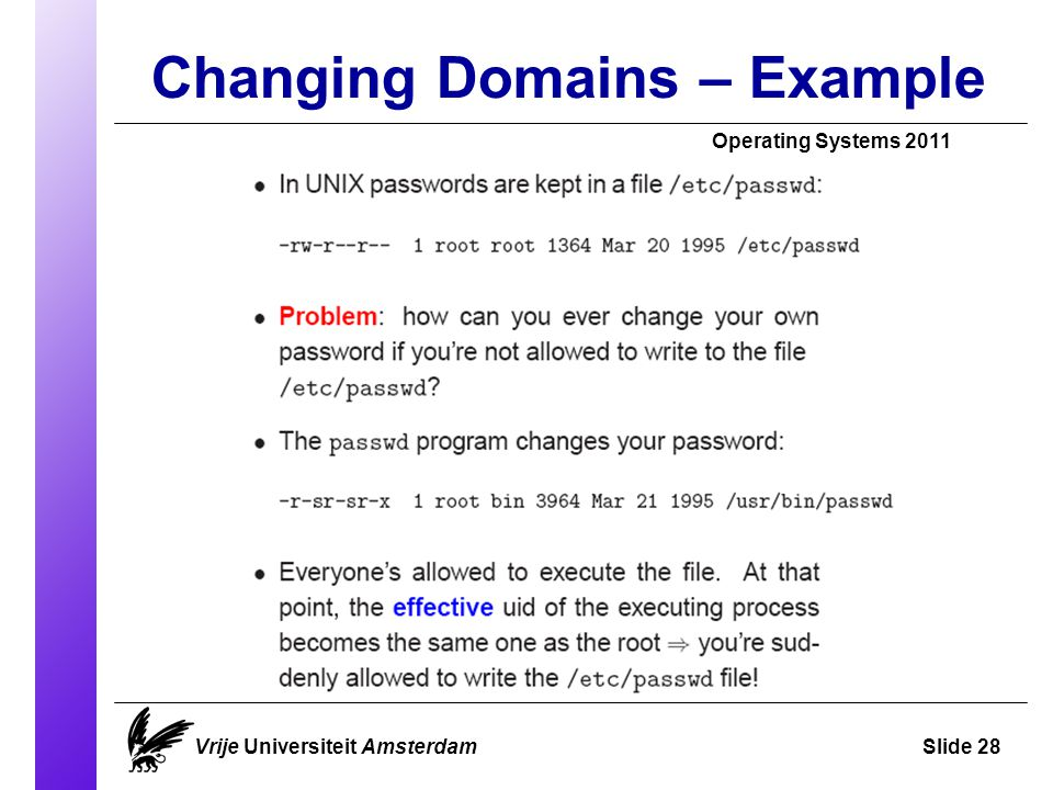 Changing Domains – Example Vrije Universiteit AmsterdamSlide 28 Operating Systems 2011