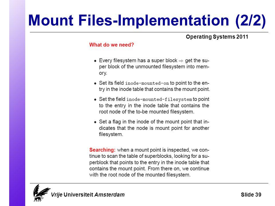 Mount Files-Implementation (2/2) Vrije Universiteit AmsterdamSlide 39 Operating Systems 2011