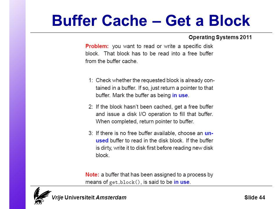 Buffer Cache – Get a Block Vrije Universiteit AmsterdamSlide 44 Operating Systems 2011