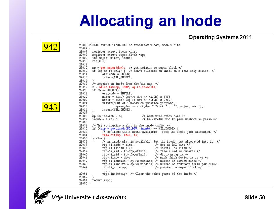 Allocating an Inode Vrije Universiteit AmsterdamSlide 50 Operating Systems 2011 942 943