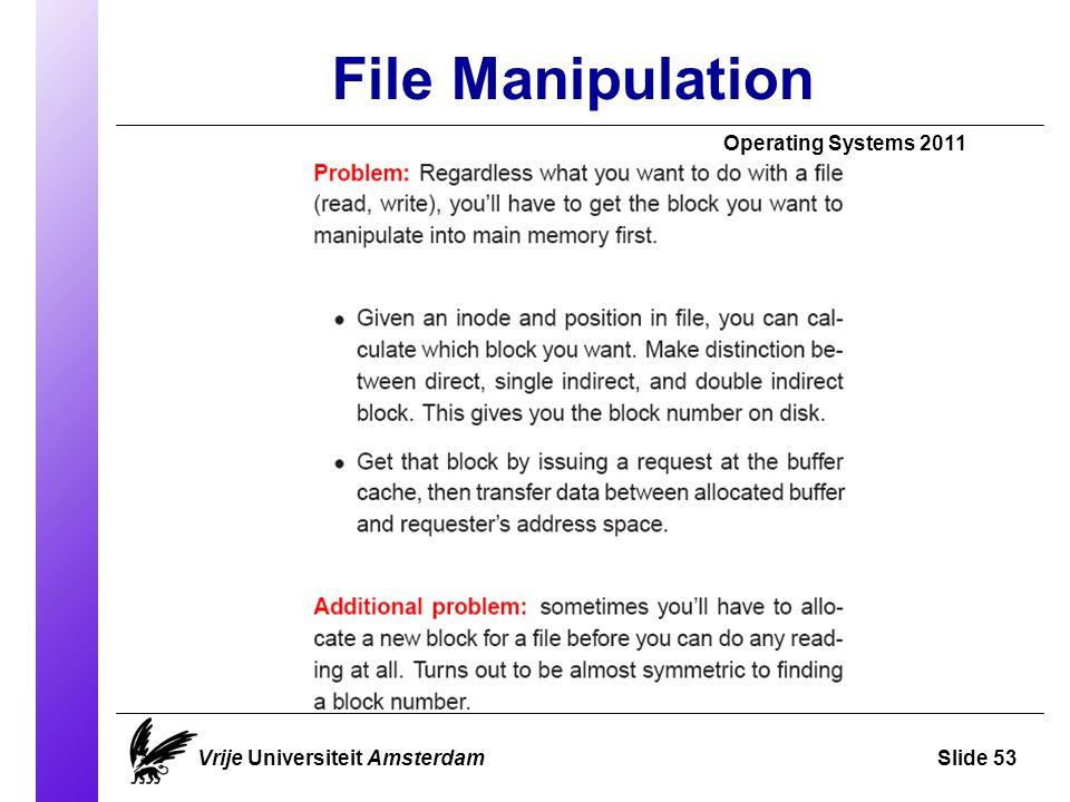 File Manipulation Vrije Universiteit AmsterdamSlide 53 Operating Systems 2011