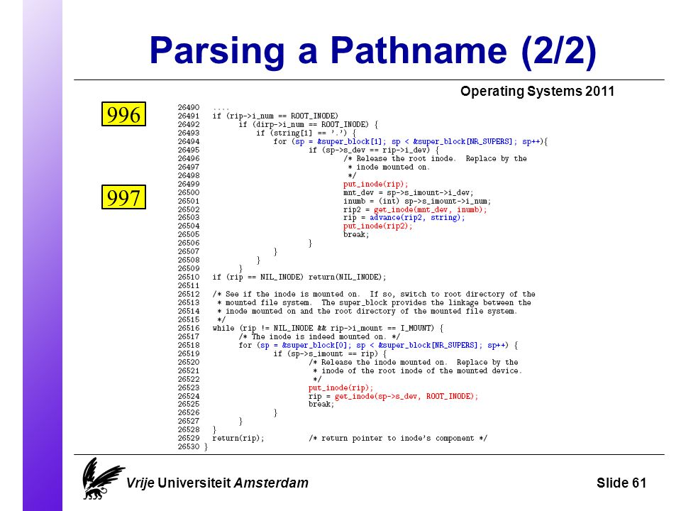 Parsing a Pathname (2/2) Vrije Universiteit AmsterdamSlide 61 Operating Systems 2011 996 997